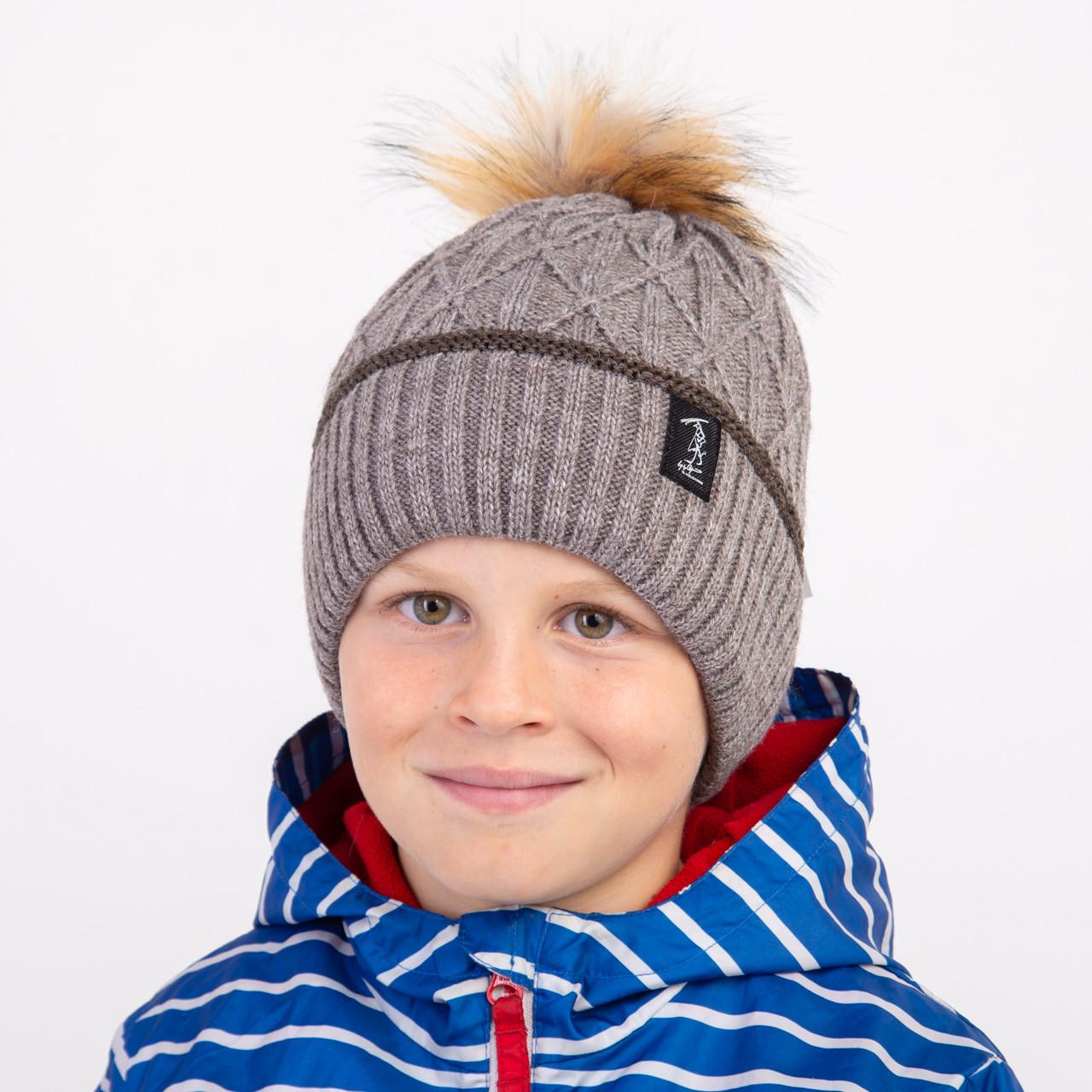 Зимняя шапка с помпоном для мальчика оптом - Артикул 1495