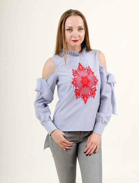 Модная блуза воротник-стойка и оригинальными рукавами