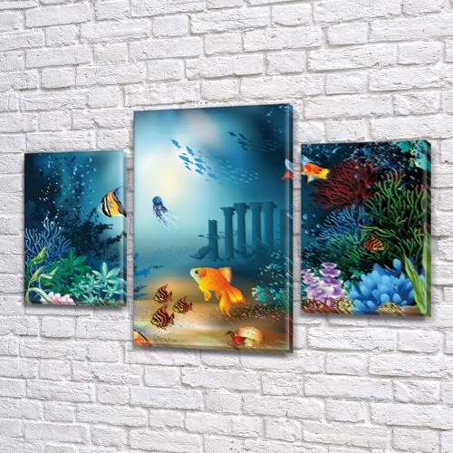 Картина модульная Золотая рыбка  для интерьера детского, 80х120 см, (55x35-2/80x45)