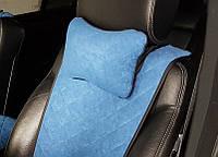 Подушка-подголовник синяя из алькантары