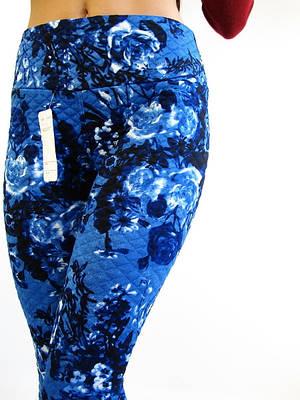Синие теплые женские лосины