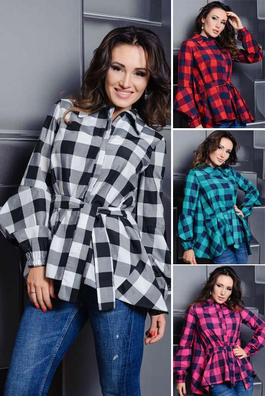 51661a63167 Женская Стильная Рубашка -Скай- Клетка — в Категории