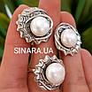 Серебряный комплект: серьги и кольцо с жемчугом, фото 2
