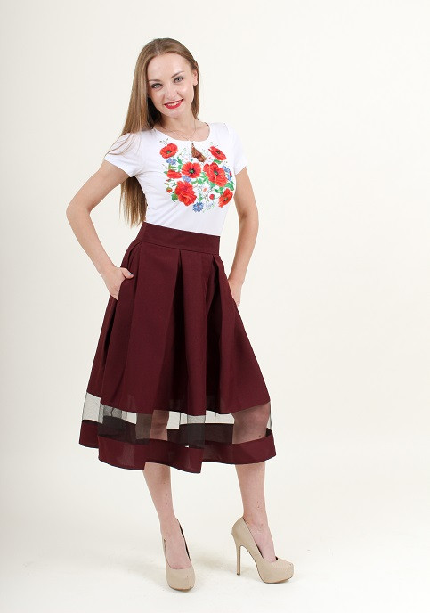 Красивая юбка солнце-клеш с карманами