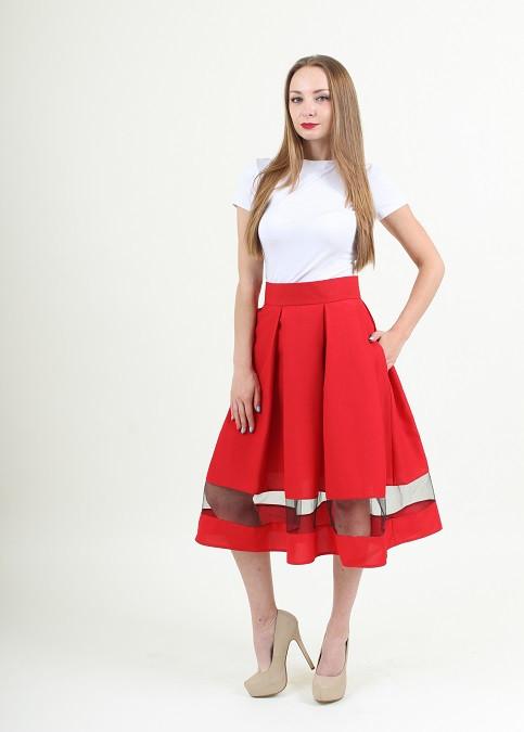 Красная женская юбка длина миди