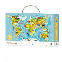Пазл Мапа Світу Тваринки