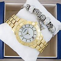 Часы Pandora Quartz 40mm Gold/White + браслет Pandora (White) + коробка Pandora. Реплика