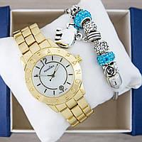Часы Pandora Quartz 40mm Gold/White + браслет Pandora (Coral) + коробка Pandora. Реплика