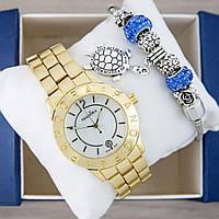 Часы Pandora Quartz 40mm Gold/White + браслет Pandora (Blue) + коробка Pandora. Реплика