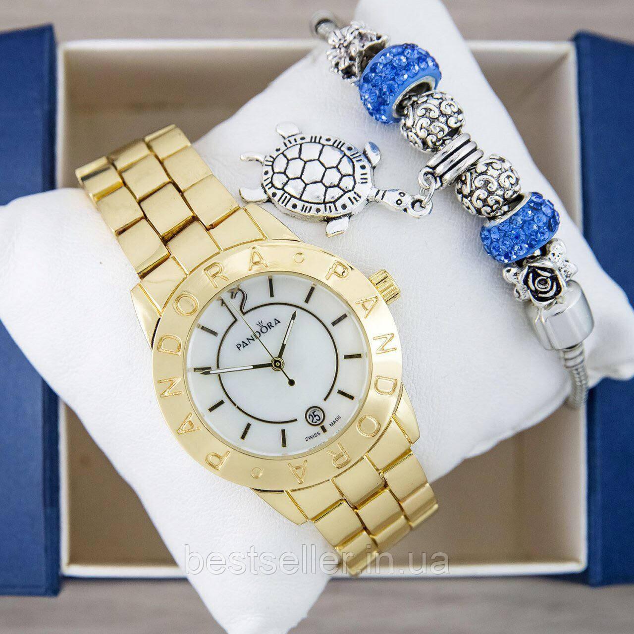 часы Pandora Quartz 40mm Goldwhite браслет Pandora White