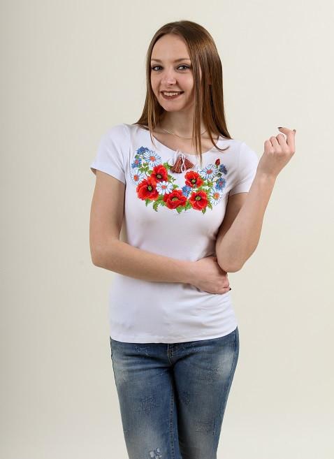 Белая футболка вышиванка с маками и ромашками