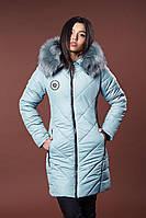 Зимняя женская молодежная куртка. Код К-82-36-17. Цвет светло оливковый.