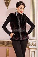Стильный бордовый меховой женский жилет из искусственной норки с кожаными вставками, женский жилет из норки