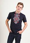 Трикотажная вышитая футболка для мужчин с синим орнаментом, фото 7