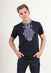 Трикотажная вышитая футболка для мужчин с синим орнаментом, фото 6