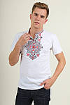 Трикотажная вышитая футболка для мужчин с синим орнаментом, фото 3