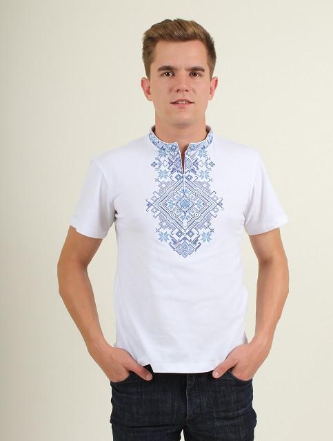 Трикотажная вышитая футболка для мужчин с синим орнаментом