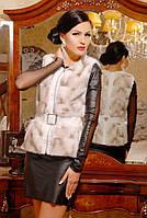 Стильный черный меховой женский жилет из искусственной норки с кожаными вставками, женский жилет из норки