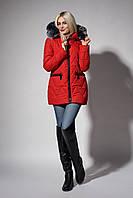 Зимняя женская молодежная куртка. Код К-107-36-18. Цвет красный.