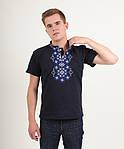 Мужская футболка вышиванка с синим орнаментом, фото 2