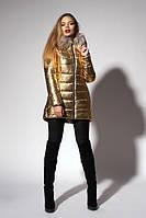 Зимняя женская молодежная куртка. Код К-111/М-60-18. Цвет золото.