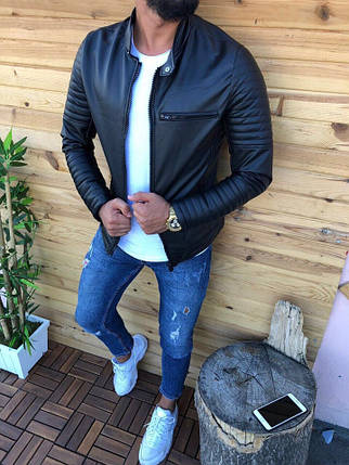 Кожанка стильная мужская черная, фото 2