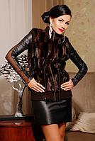 Женский коричневый  жилет из эко-меха под норку с вязаной отделкой, вязаный норковый жилет женский коричневый