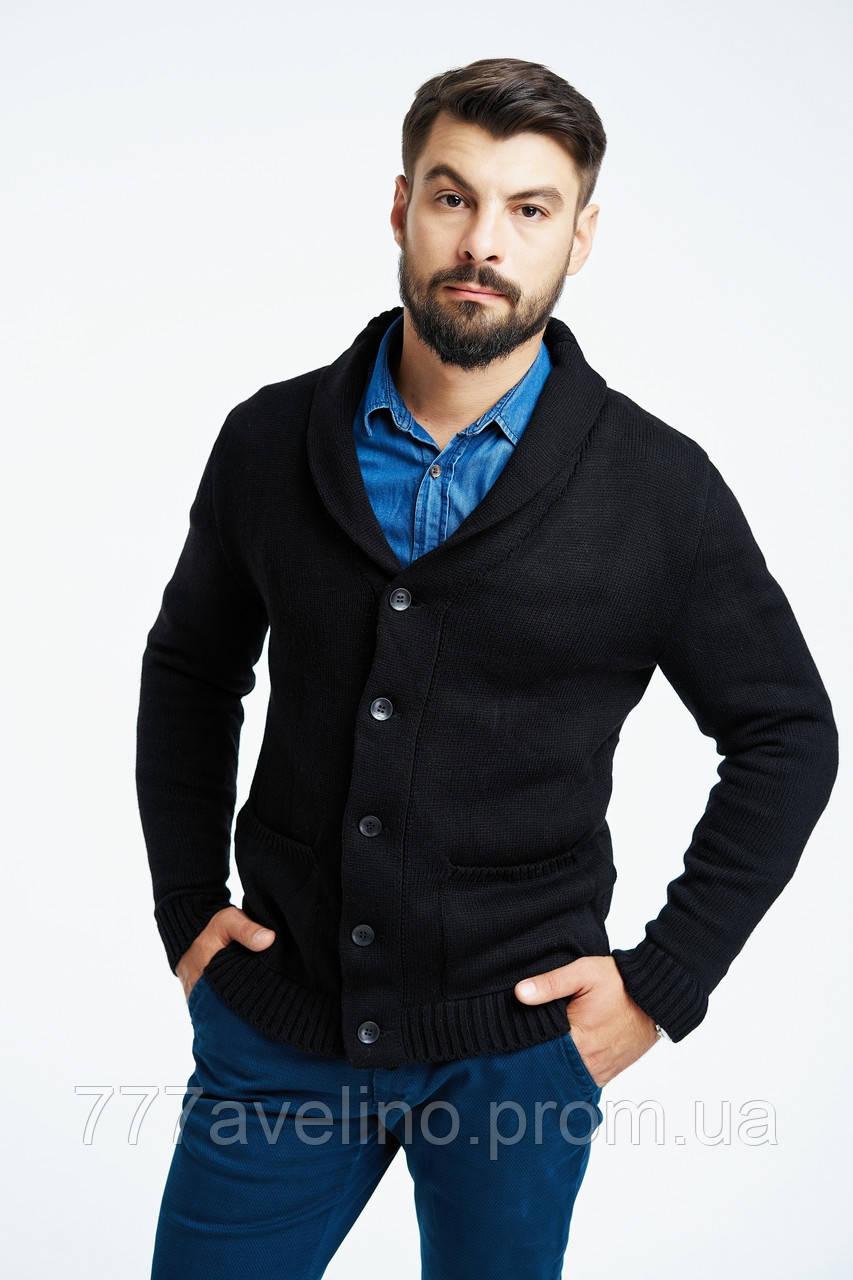пиджак мужской вязаный стильный кардиган черный купить в харькове