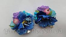 Заколка для волос с розами и маками синие фиолетовые цветы