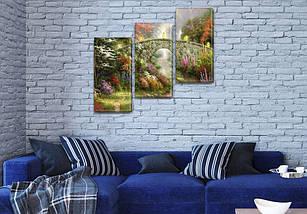 Картина модульная Садовый мост на Холсте, 100х110 см, (70x35-3), фото 3
