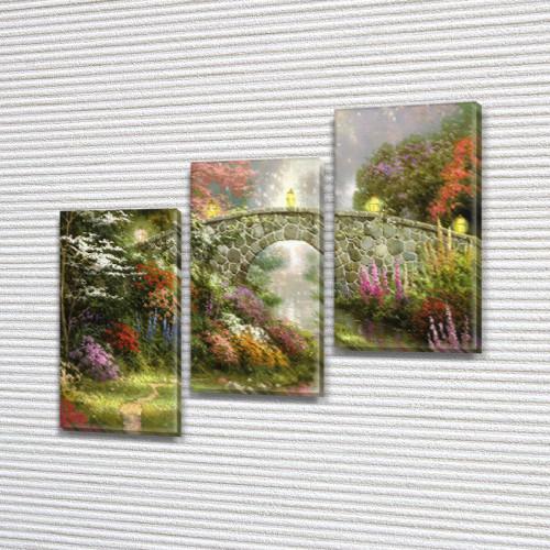 Картина модульная Садовый мост на Холсте, 100х110 см, (70x35-3)