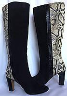 Сапоги женские, ZARA Испания, осенние, большой размер, натуральная замша и кожа, размер, 39/40