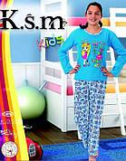 KSM пижама детская начесом БАЙКА девочка (5-14 лет)