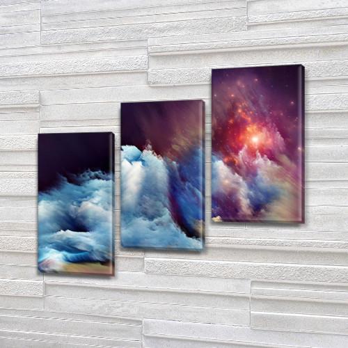 Модульные картины в спальню на Холсте, 100х110 см, (70x35-3)