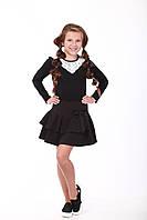 Блуза черная с кружевом треугольник, фото 1