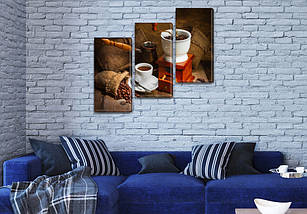 Картина модульная Кофе из турки на Холсте, 100х110 см, (70x35-3), фото 3