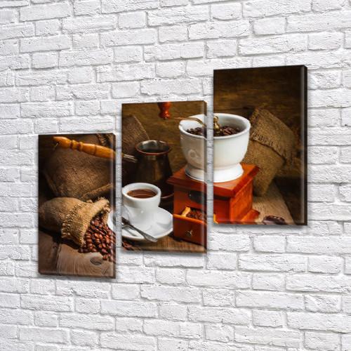 Картина модульная Кофе из турки на Холсте, 100х110 см, (70x35-3)
