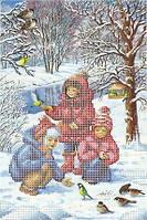 """Схема для частичной вышивки бисером """"Зима, дети"""""""