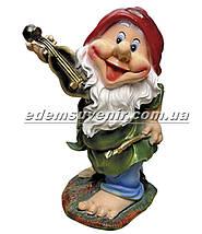 Садовая фигура Гном скрипач средний, фото 2