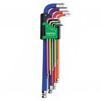 Набор Г-образных шестигранных ключей 1,5-10 мм 9 ед. разноцветных с шаром TOPTUL GAAL0918