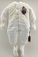 Комбінезон для новонароджених 3, 6, 9 місяців Туреччина теплий плащівка для дівчаток білий (КНК2)