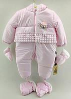 Комбінезон для новонароджених 6 місяців Туреччина теплий плащівка для дівчаток рожевий (КНК3)
