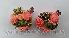 Заколка для волос с персиковыми розами и ягодками