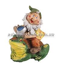 Садовая фигура Гном наездник малый, фото 2