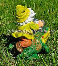 Садовая фигура Гном наездник малый, фото 3
