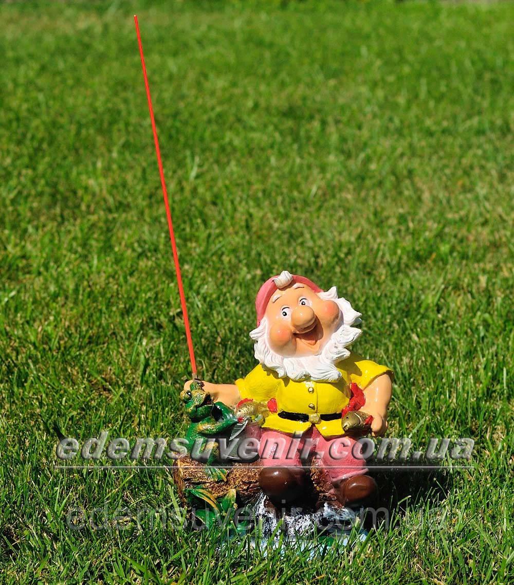Садовая фигура Гном на рыбалке малый