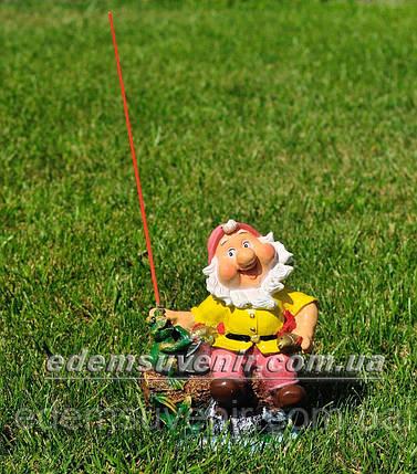 Садовая фигура Гном на рыбалке малый, фото 2