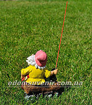Садовая фигура Гном на рыбалке малый, фото 3