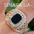 Классическая мужская золотая печатка с черным камнем- Классическое роскошное мужское золотое кольцо, фото 6