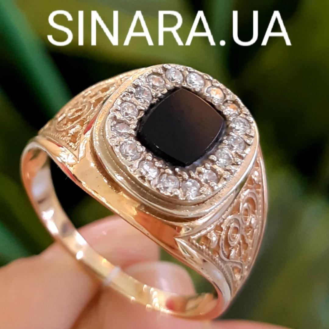 Классическая мужская золотая печатка с черным камнем- Классическое роскошное мужское золотое кольцо